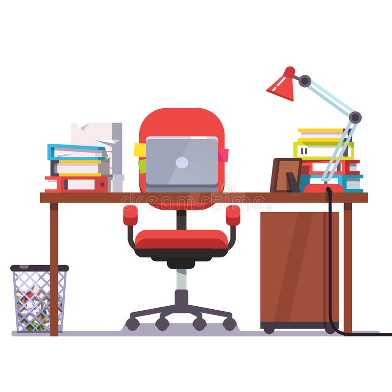 Home or office desk with laptop computer vector illustration