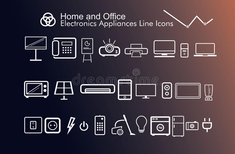 Home and office electronics appliances thin beautiful modern icons stock photography