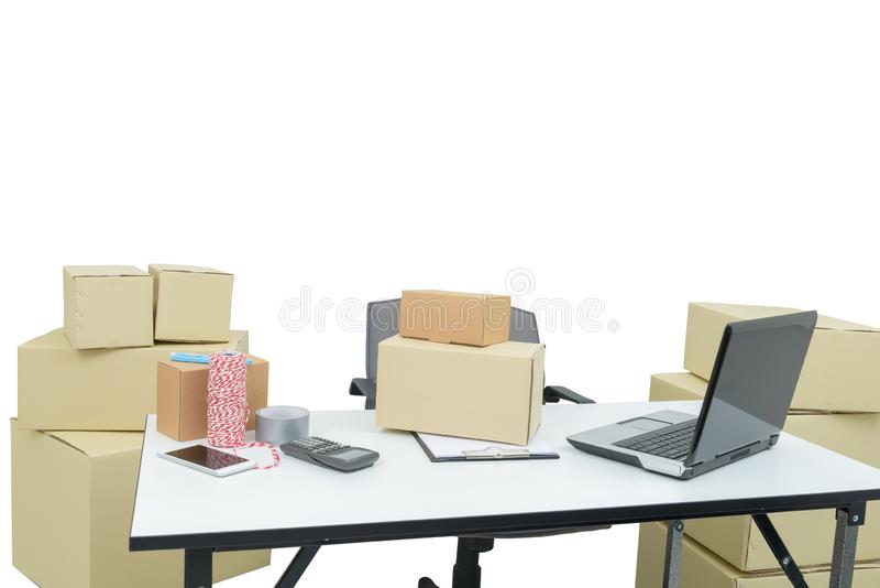 Home office equipment, computer laptop. business and online order shipping supplies, Delivery and package. Small business concepts stock photos