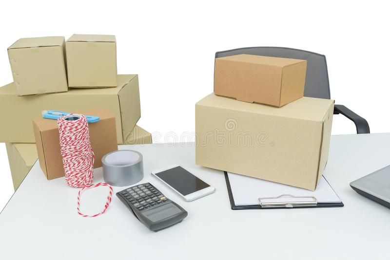 Home office equipment, computer laptop. business and online order shipping supplies, Delivery and package. Small business concepts stock image