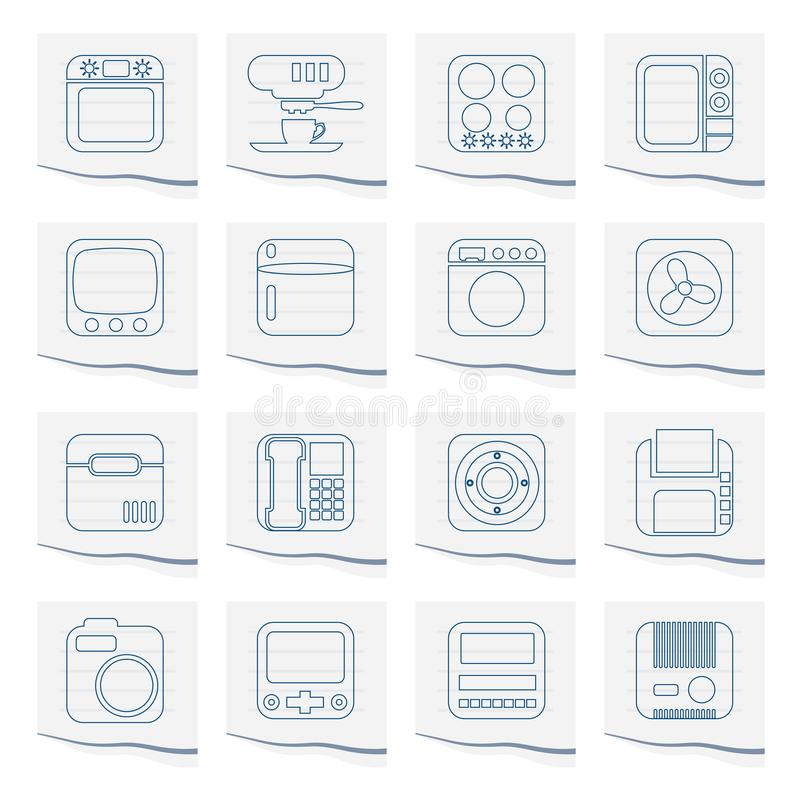 Home and Office, Equipment Icons on a piece of paper. Vector Icon Set vector illustration