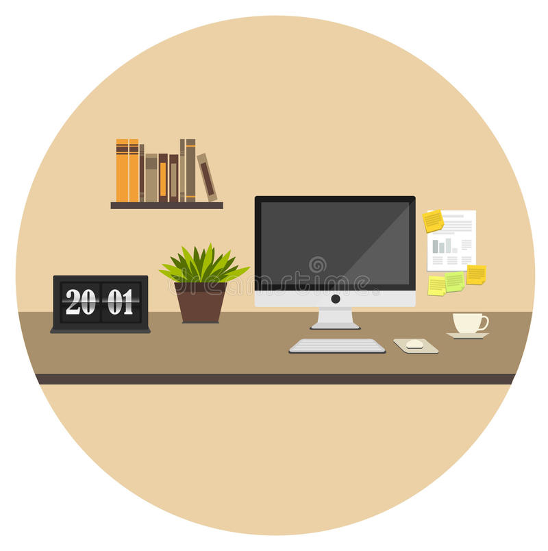 Home office flat icon stock photos