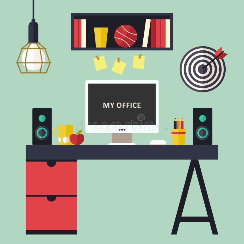 Home office flat interior vector illustration royalty free illustration