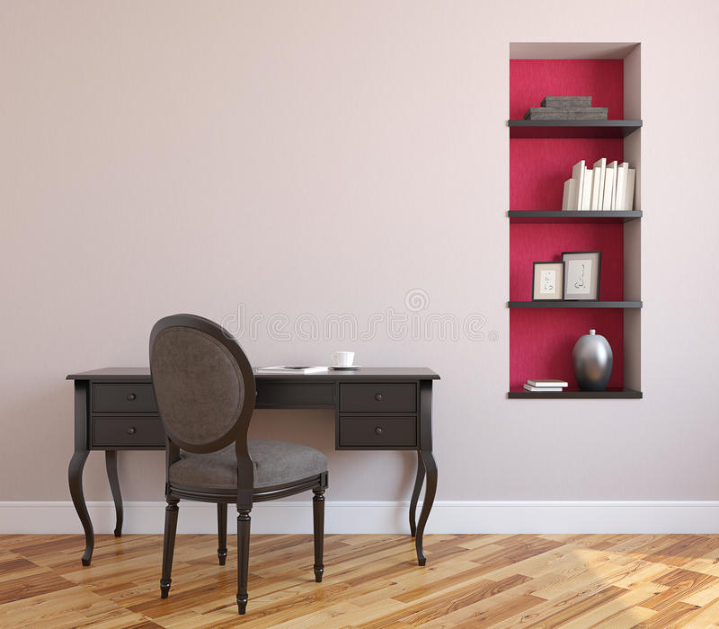 Home office interior. 3d render stock illustration