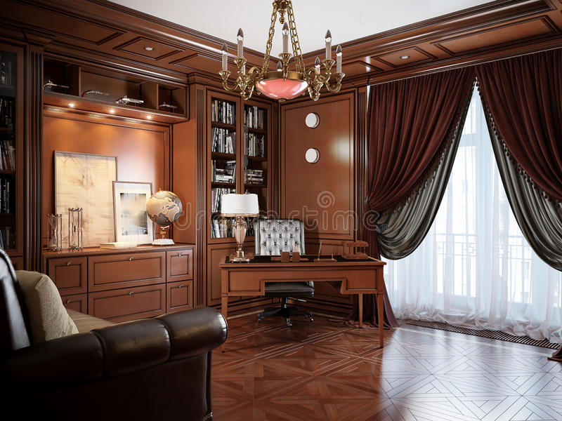 home office interior design in classic style stock illustration