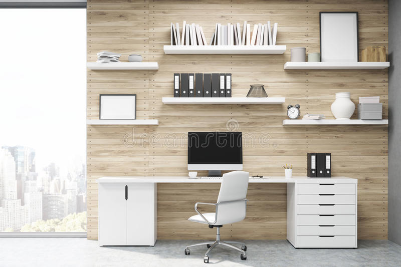 Home office with light wood panels royalty free stock image