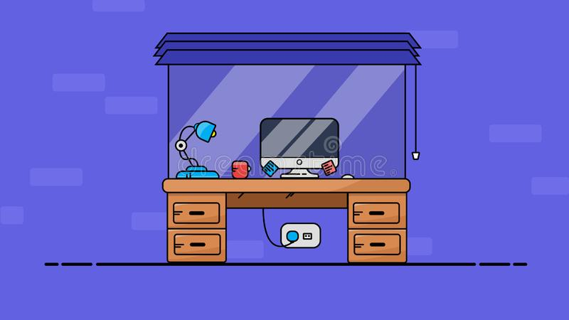 Home Office PC and Desk. Flat  illustration stock illustration
