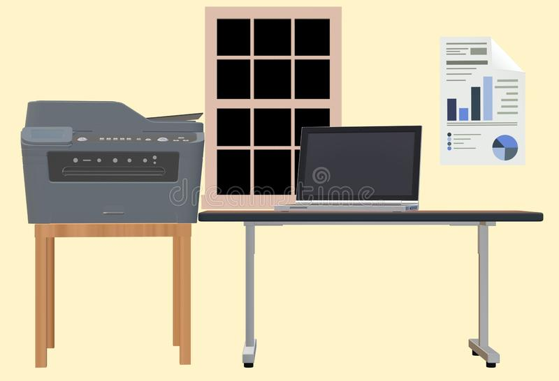 A home office setup with printer, notebook computer and tables by a window. A computer generated illustration image of a home office setup with printer, notebook vector illustration