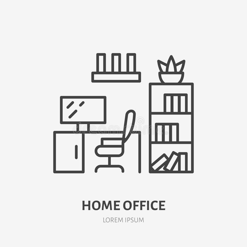 Home office, study room flat line icon. Apartment furniture sign, vector illustration of cabinet table, chair, bookcase royalty free illustration