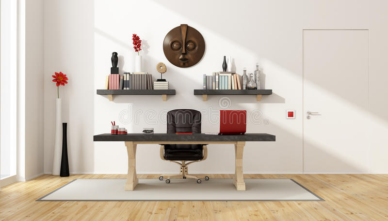 Home office with vintage desk. Leather chair,shelves and retro objects - 3D Rendering royalty free illustration