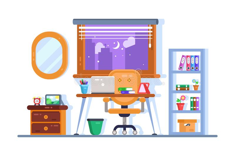 Home or office workplace interior design royalty free illustration