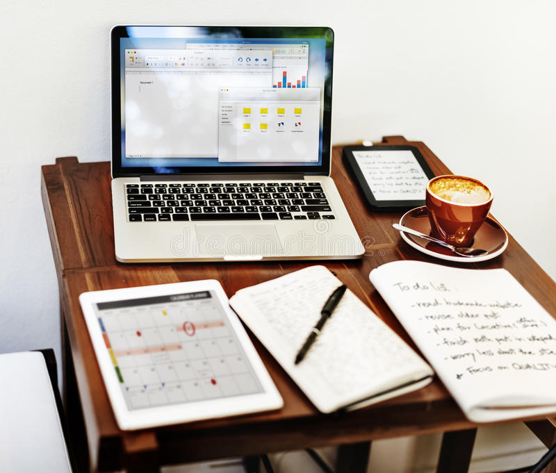 Home Office Workspace Place of Work Concept stock photos