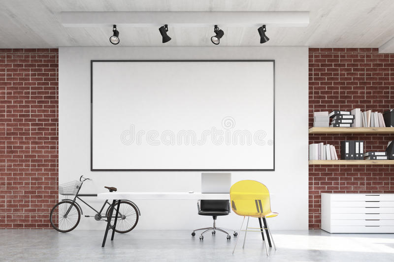 home office whiteboard. download home office with yellow chair and whiteboard stock illustration - of apartment, design b