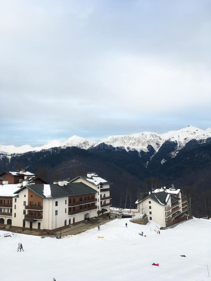 Home of the Olympic village in the Caucasian mountains of the city of Sochi. 1 royalty free stock images