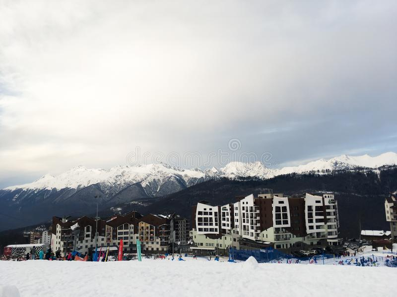 Home of the Olympic village in the Caucasian mountains of the city of Sochi. 1 stock image