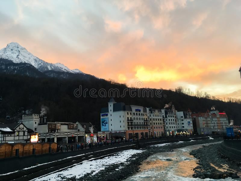 Home of the Olympic village in the Caucasian mountains of the city of Sochi. 1 royalty free stock photography