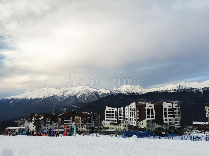 Home of the Olympic village in the Caucasian mountains of the city of Sochi. 1 stock photos