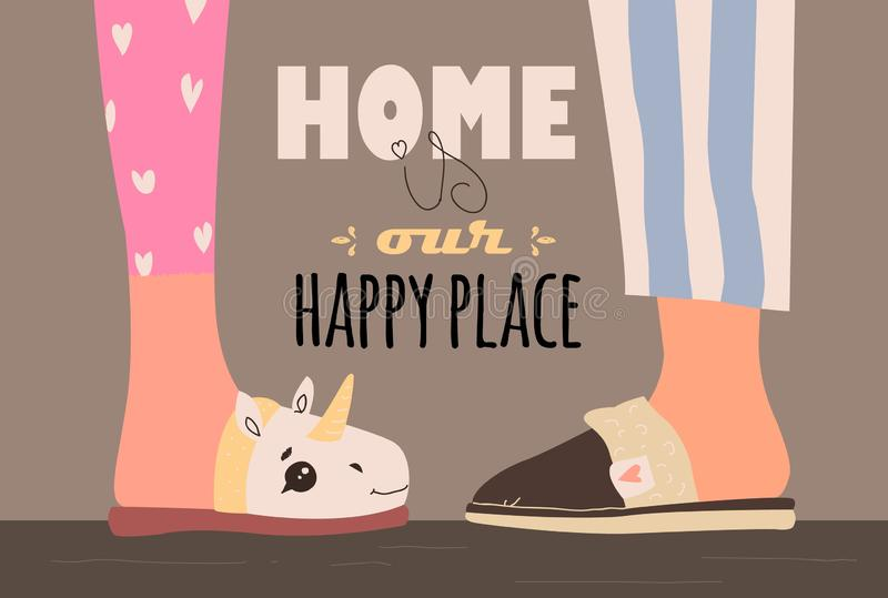 Home is our happy place. vector illustration with home slippers stock illustration