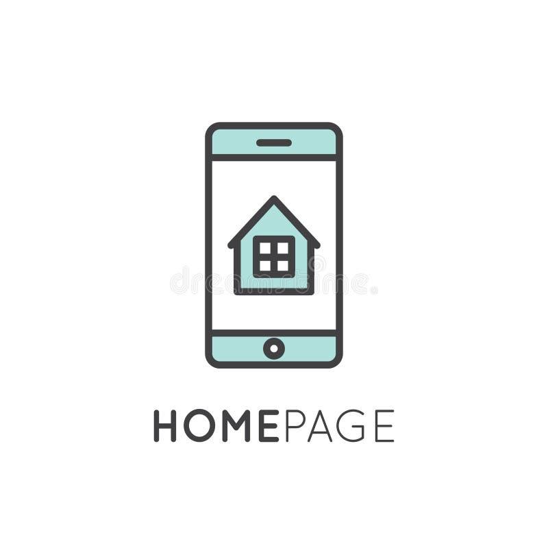 Home Page con la casa y la ventana stock de ilustración