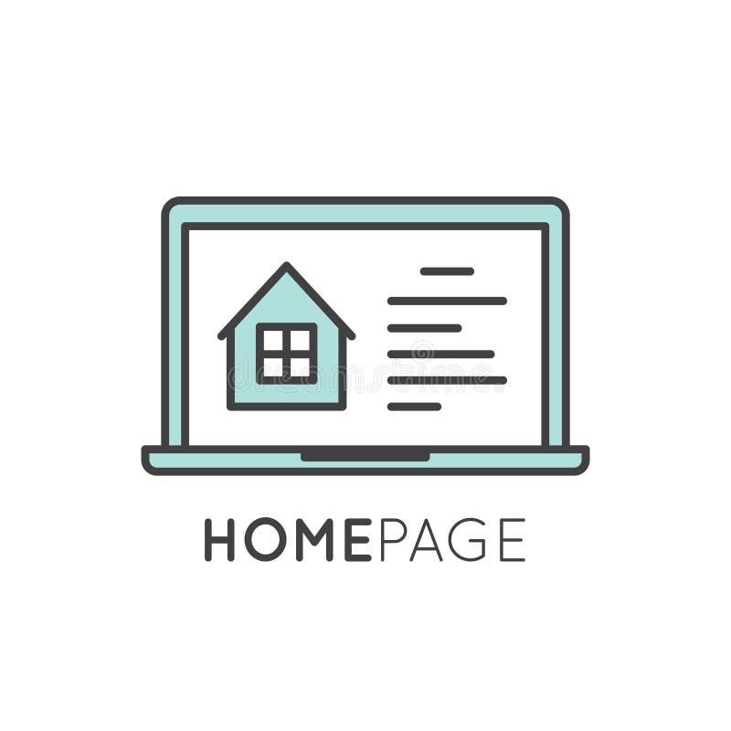 Home Page da aterrissagem com casa e janela ilustração do vetor