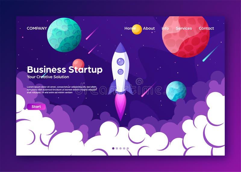 Home Page de aterrissagem do Web site com foguete Partida do projeto do negócio e fundo liso moderno do desenvolvimento Web m?vel ilustração royalty free