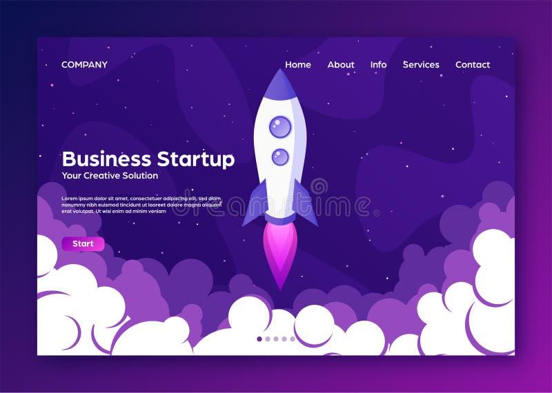 Home Page de aterrizaje de la p?gina web con el cohete Inicio del proyecto del negocio y fondo plano moderno del desarrollo Web m libre illustration