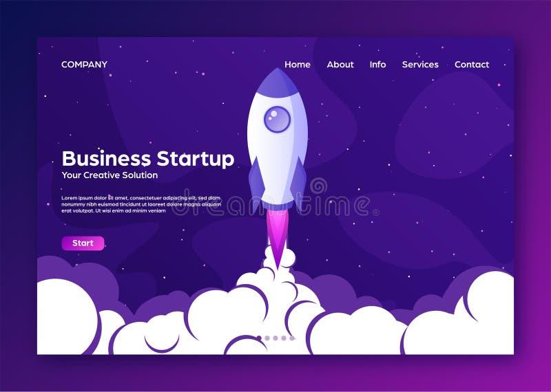 Home Page de aterrizaje de la p?gina web con el cohete Inicio del proyecto del negocio y fondo plano moderno del desarrollo Web m ilustración del vector