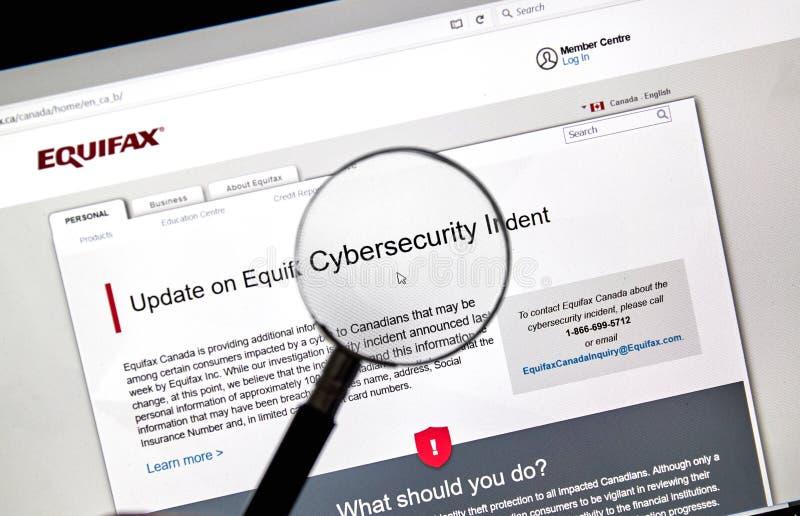 Home Page de Equifax Canadá imagenes de archivo