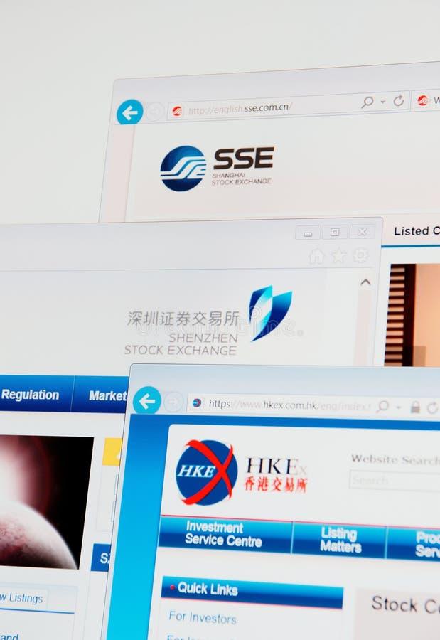 Home Page di Shanghai, di Shenzhen e di Hong Kong Stock Exchange fotografia stock