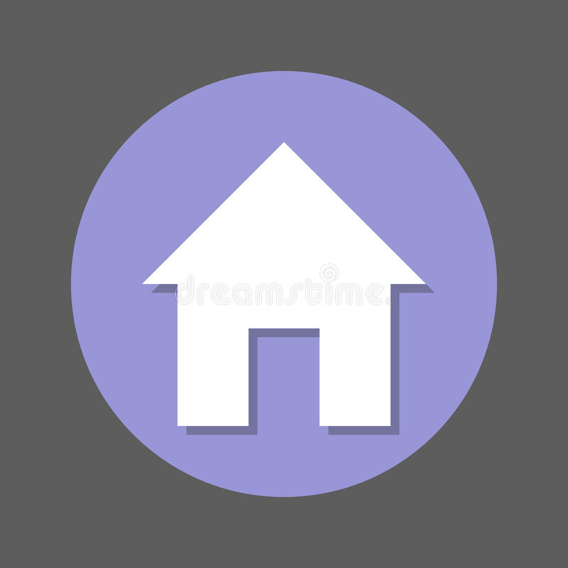 Home page, House flat icon. Round colorful button, circular vector sign with shadow effect. Flat style design. stock illustration