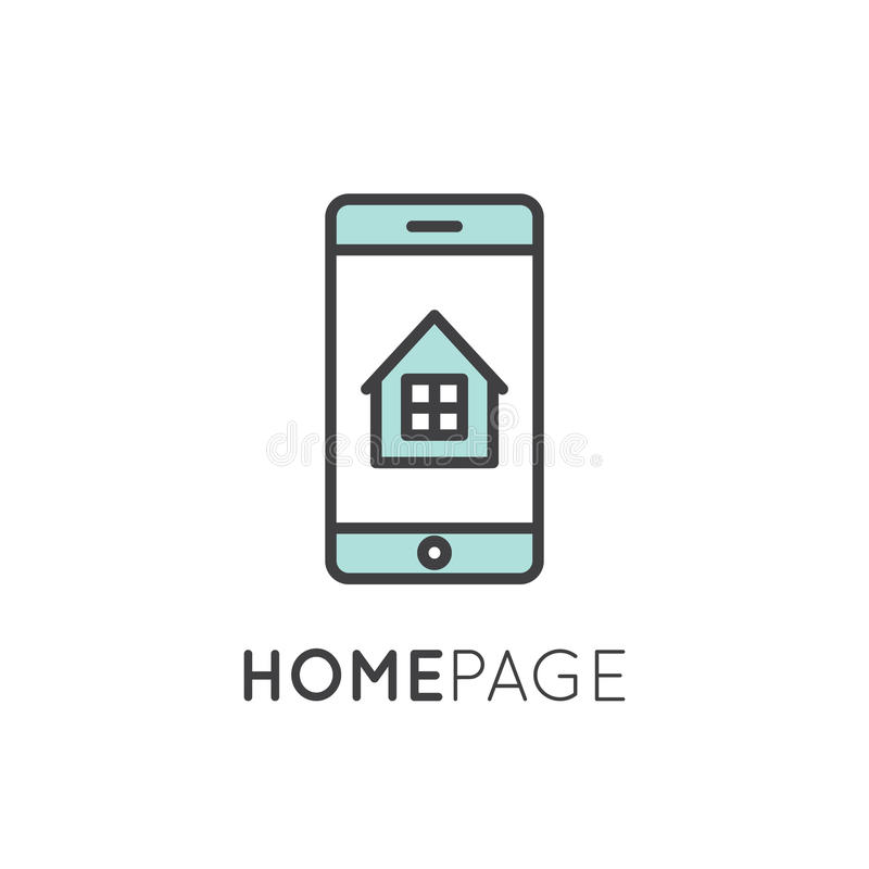 Home page with house and window. Vector icon style illustration logo thin line laptop and mobile phone app showing landing home page with house and window stock illustration