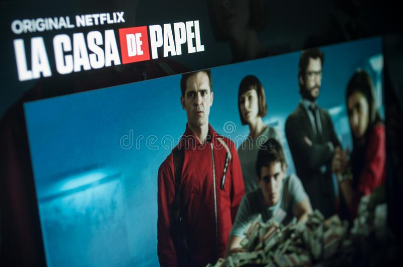 Home page screen of the serie tv : La casa de papel paper house on Netflix stock photos