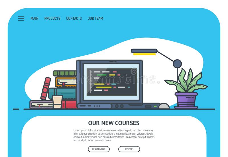 Home page for site. Home page for website with courses. Education site landing page. Laptop and pile of books with lamp on table. Online education and courses vector illustration
