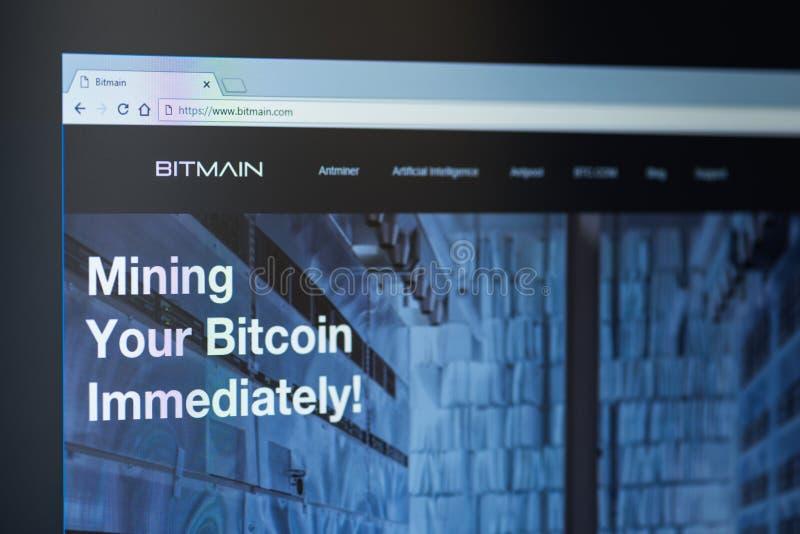 Home Page tecnologias Ltd de Bitmain Bitmain é uma empresa chinesa, um mineiro o maior do bitcoin no mundo e um fabricante do min imagens de stock