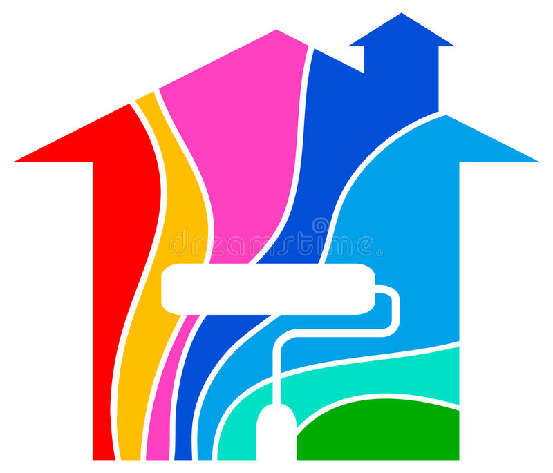 Home painting logo. Line art isolated colourful home logo design royalty free illustration
