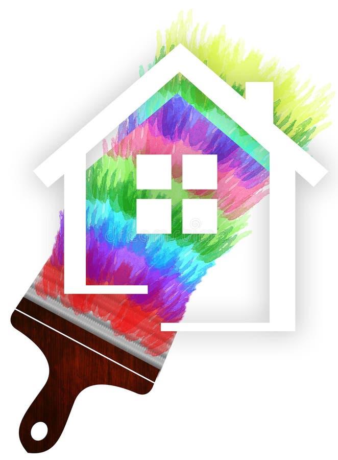 Home painting logo design stock illustration
