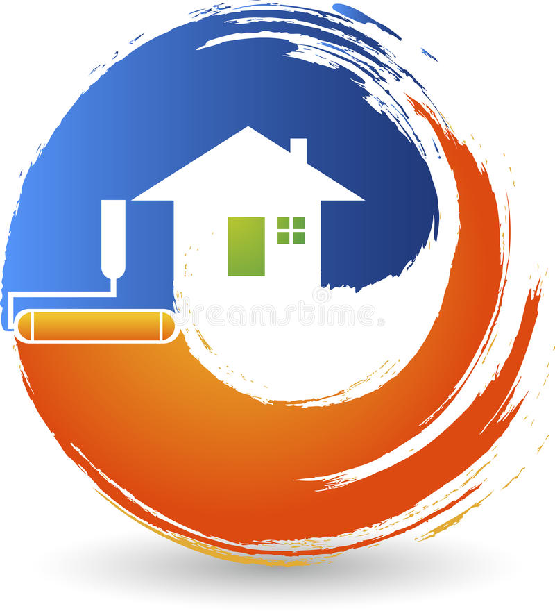 Home painting logo. Illustration art of a home painting logo with background