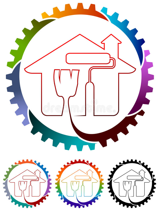 Home painting logo. Line art isolated colorful home logo design royalty free illustration