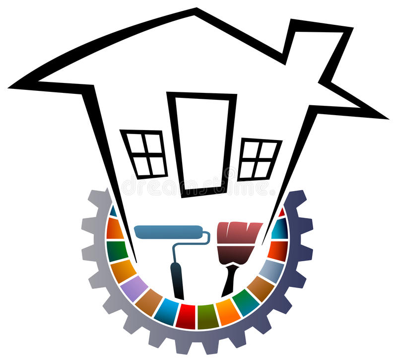 Home painting logo. Line art isolated home logo design vector illustration