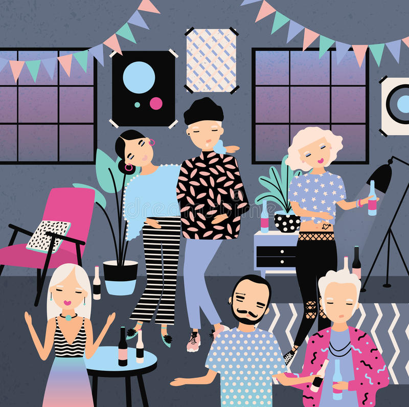 Home party with dancing, drinking people. Fashionable young guys and girls in bright clothes. Colorful vector vector illustration