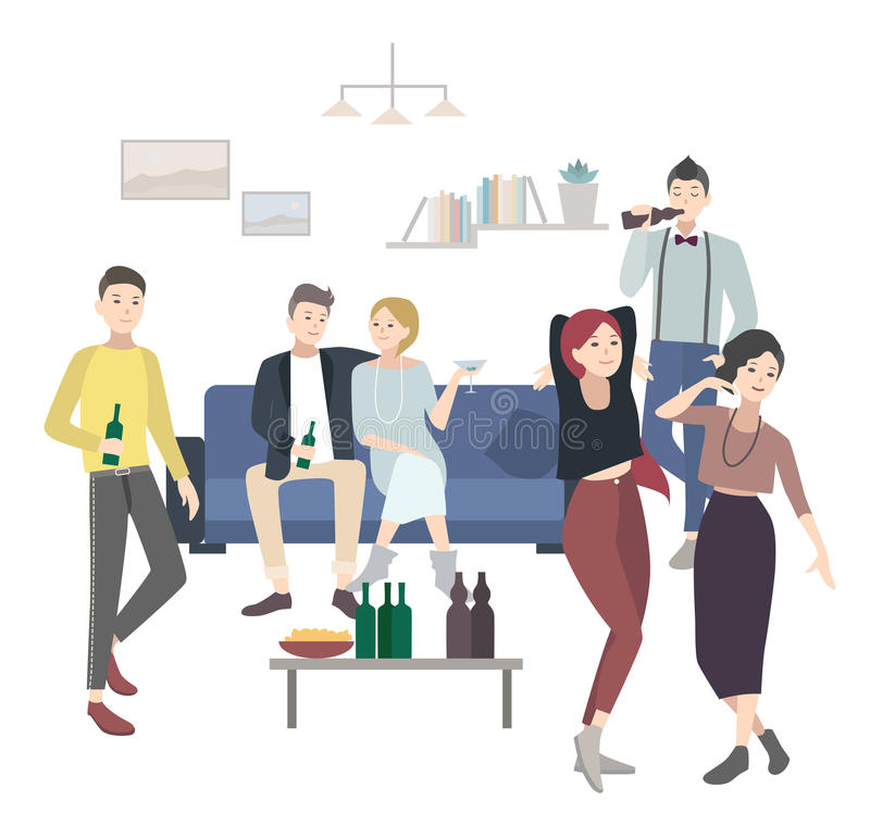 Home party with dancing, drinking people. Flat illustration. stock illustration
