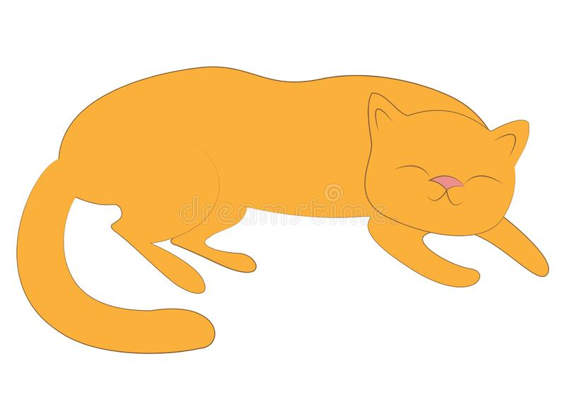 Home pet. Red cute cat is sleeping. He is happy and loved. Vector illustration.  royalty free illustration