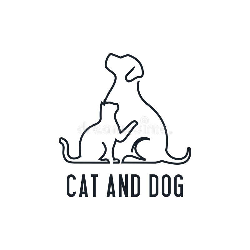 Home pets, minimalist monoline lineart outline dog cat icon logo template vector illustration, Modern kitten and puppy label for V stock illustration