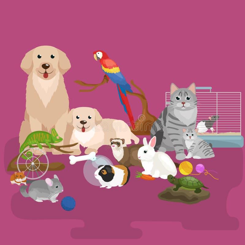 Home pets set, cat dog parrot goldfish hamster, domesticated animals. Home pets set, cat dog parrot goldfish hamster ferret, cartoon vector illustration royalty free illustration