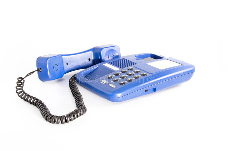 Home phone. Fix line home phone with color of blue stock images