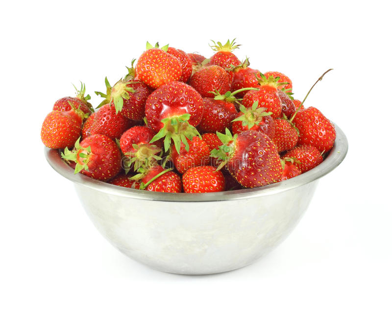 Home picked strawberries in a stainless steel bowl