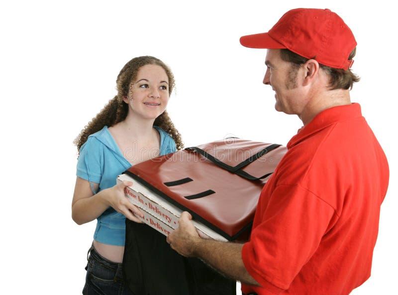 home pizza för leverans arkivfoto