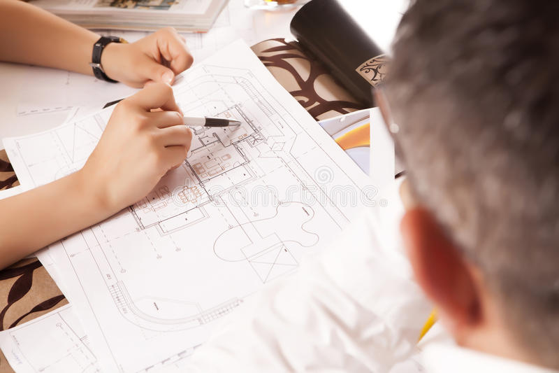 Home Plan In Work Royalty Free Stock Images