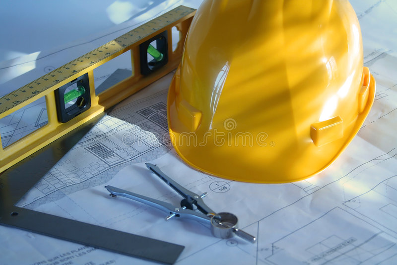 Home plans. Architectural drawings for remodeling a home stock image