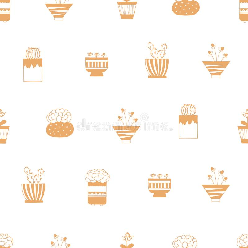 Home plants in pots with patterns on a white background stock illustration